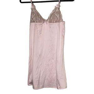 Blush pink La Senza satin slip dress w/ lace cups